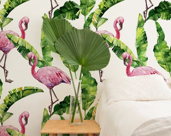 Removable wallpaper - Flamingo Self adhesive wallpaper - Peel and stick wallpaper - Tropical wallpaper - Floral wallpaper - Wall Mural