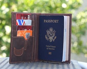 Leather Passport Wallet, Passport Holder, Traveler Wallet, Passport Cover, Personalized Leather Wallet, Leather Passport Case, Brown