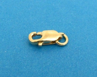 Small Lobster Clasp with Attached Jump Ring - 14k Yellow Gold