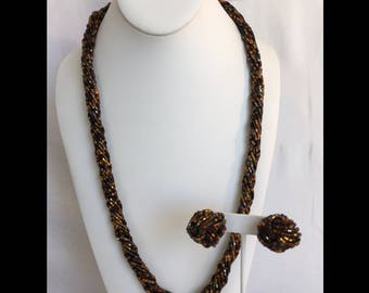 Copper, Brown, and Black Bugle Tube Seed Bead 12 Strand Vintage Necklace and Knot Pierced Earrings Set