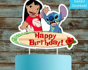 Printable Lilo and Stitch Cake topper, Lilo and Stitch Centerpiece, Lilo and Stitch Birthday Party Decorations. Lilo and Stitch Cake Topper