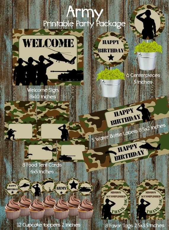 Army party package army birthday party army party supplies for Army party decoration ideas