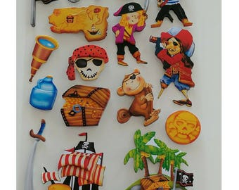Ultra-3D POP Pirates Stickers Autocollants ~ 1 Sheet with 16 Stickers