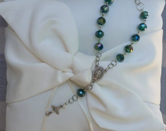 Dark green crystal one decade car rosary with Miraculous Medal center