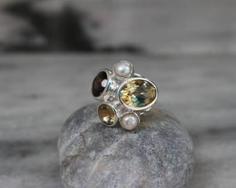925 Sterling Silver Ring set with Smoky Topaz Citrine and pearl Gemstone Ring