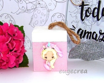 Box with polymer clay Unicorn girl