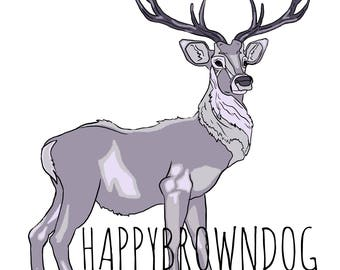 Purple Deer Stag Digital Illustration Drawing