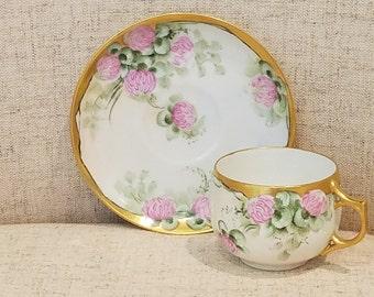 Limoges Tea Cup & Saucer w/Gilded edges, Made in France AK Limoges