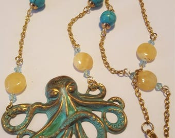 Nautical Octopus pendant necklace