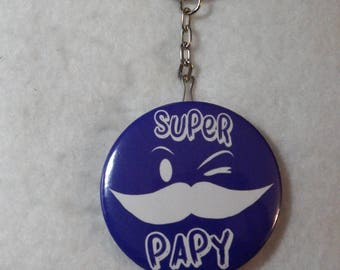 "Keychain bottle opener blue gift GRANDPA with mustache ""Great Grandpa"""