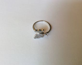 Flexible ring in 925 sterling silver bead semi-percee support