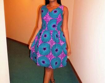Wax (Ankara) sleeveless dress V neck
