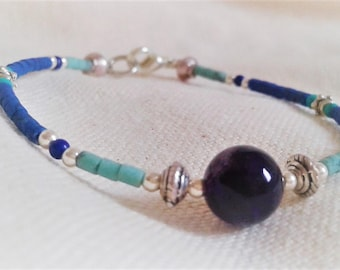 Semi precious stone and silver bracelet