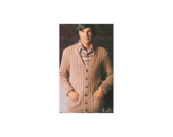 Classic Mens Cardigan Knitting Pattern - Long sleeve, wide ribs, fold over cuffs, front pocket