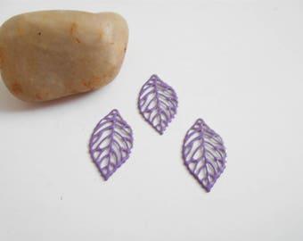 set 6 prints effect leaves enameled purple