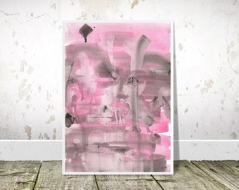Pink Grey Abstract art, PRINTABLE Art, Pink Painting Print, Watercolor Art, Abstract Watercolour Print, Modern Wall Art, abstract decor