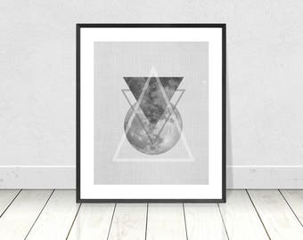 Scandinavian Decor, Triangles Print, Printable Art, Moon Print, Celestial, Mid Century Modern Art,Scandi Style,Black and White,Abstract Art