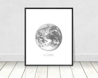 Planet Print, Black & White Print, Scandinavian Poster, Earth Print, La Tierra, Printable Art, Planet Poster, Grey,Nordic,Scandinavian Decor