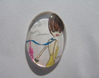 Oval glass cabochon 25 X 18 mm with the image of woman