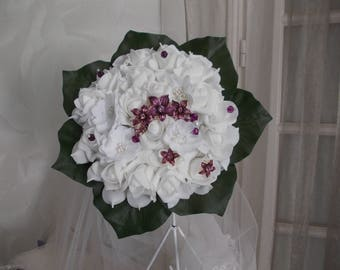 White and purple roses artificial bridal bouquet white wedding