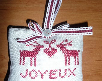 christmas decoration door - handmade - crosstitch embroidery, rennes, joyeux noel ( merry christmas)