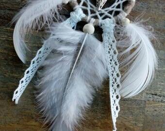"""Mini attrape-rêves Dreamcatcher """"Buffalo"""" beige / blanc by Fannygloo (cercle 5 cm)"""