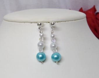 "Earrings wedding turquoise and white pearls and Bohemian crystal ""JADE"""