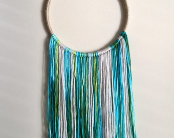 Yarn Wall Hanging in Greens and Blues