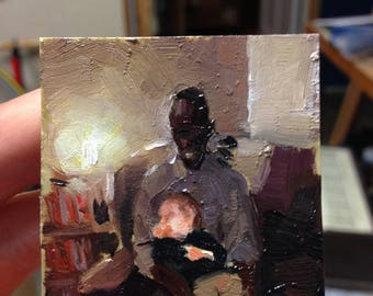 man and baby oil painting