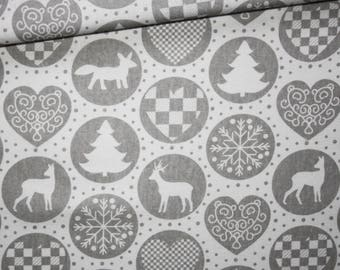 Fabric Christmas 2017, 100% cotton printed 50 x 160 cm, Christmas, winter, grey and white pattern