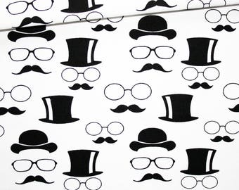 Fabric hat, glasses, 100% cotton 50 x 160 cm, hats, glasses and mustache black on white background