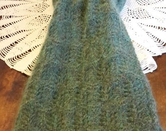 HANDKNITTED GREEN SCARF kid mohair
