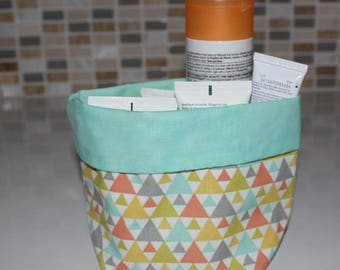 Basket of bath - reversible - pattern triangle - washable
