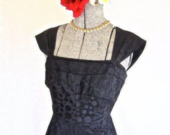 XXS 50s Fishtail Dress Cocktail Black Satin Bubbles Red Flounce Tulle Bows Sheath Sexy LBD Extra Extra Small