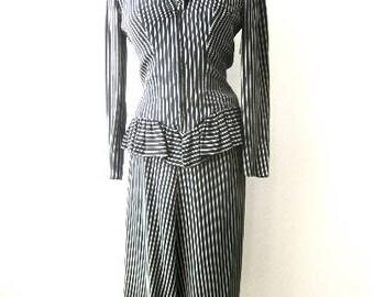 M 30s 40s Suit Striped Rayon Ruffle Zipper Peplum Jacket Blouse Skirt Warner Brothers Costume Wardrobe Department Deco War Era Medium