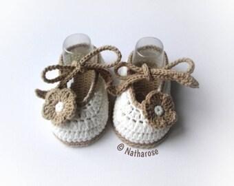 Chaussons bébé ballerines écrues fleurs beiges