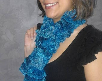 Fancy ruffle wool hand knitted scarf electric blue for women