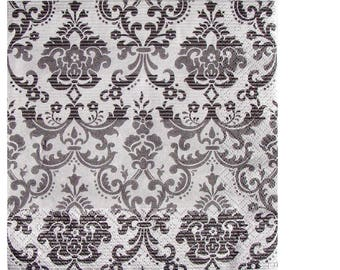 Set of 3 HOD076 damask black and silver paper napkins