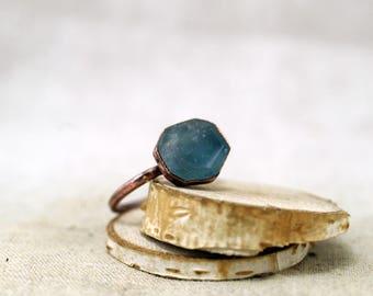 Rosecut Fluorite Ring, Blue fluorite ring, Raw Crystal, Electroformed, Copper Ring, Green Fluorite, 9 US, 19.0 DE 118