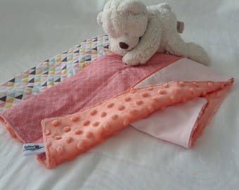 cover geometric pattern cotton and minky baby blanket