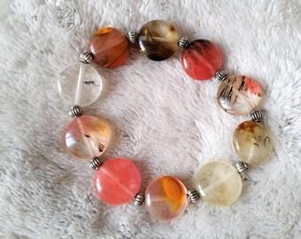 pink quartz natural stone bracelet