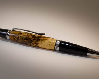 Hand Turned Wall Street II Ballpoint Pen With Spalted Tamarind Wood..Free Shipping in lower 48 states