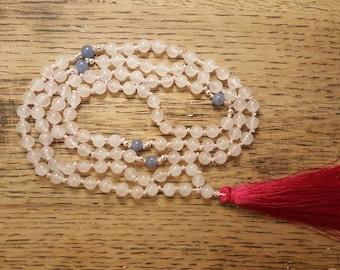 Rose Quartz, Blue Adventurine and Sterling Silver Bead Mala, Crystal Mala, Rose Quartz Mala, Yoga Mala, 108 Bead Mala, Prayer Bead Mala,