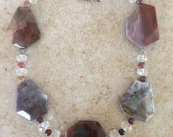 Handmade Gray/Rust Jasper w/Quartz Beads Necklace