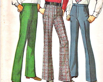 Vintage 70s Perfect Fit Mens Trouser/ Pants/ Flares Sewing Pattern. Retro cool