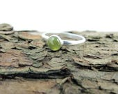Idocrase Ring, Sterling Silver, Hand Forged Ring, Fits UK Ring Size Q, USA Size 8.5, Silver Dress Ring, Natural Green Gemstone, Vesuvianite