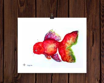 Original Watercolor Goldfish Print/ Art Print/ Wall Art