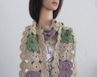 Beige/purple/green crocheted medium weight cotton spring/fall/fashion scarf