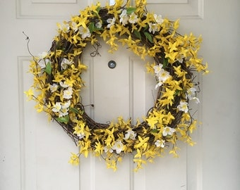 Handmade forsythia wreath *made to order*