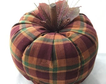 Fall Plaid Fabric Pumpkin